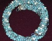 Blue Bead Bracelet Wrap Bangle Crochet Rope Glass Bead COIL Cuff