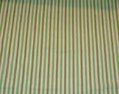 Lime Stripe - 1 yard vintage fabric - imperfect