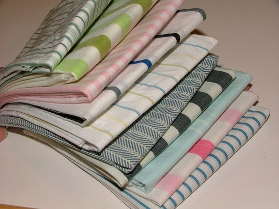 Stripe Stack - fat quarter 10-pack - repurposed fabric