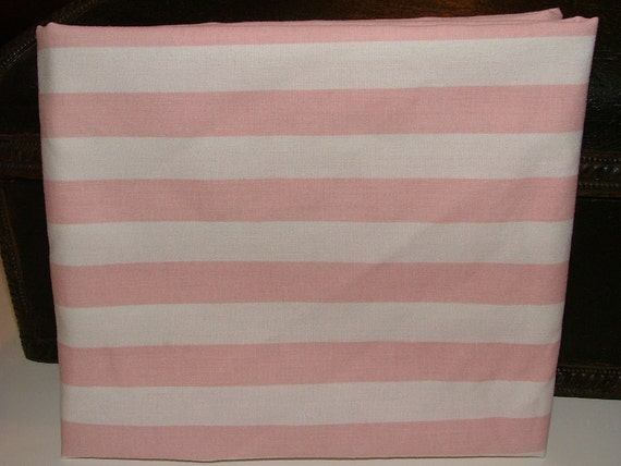Pink Stripe - really fat quarter - reclaimed linens fabric
