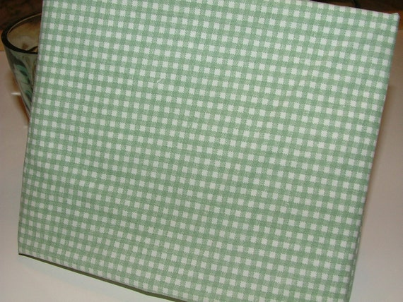 """Fat Quarter - Upcycled Sheets Fabric """"Gingham in Sage"""""""