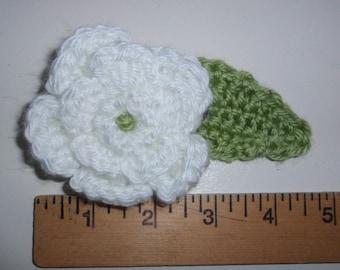 Crochet Cotton Flower Pin White