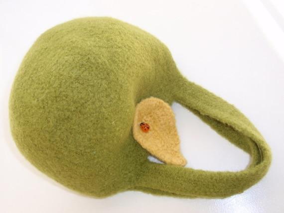 Felted Green Apple Handbag