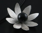 Onyx Lotus Pendant - Sterling Silver Hand Cut and Formed -Genuine Onyx Gem-Textured and High Polished Finish-16 in. Black Neck Wire