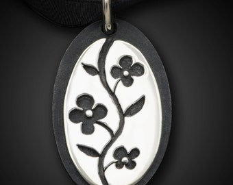 Oval Sumi-E Pendant--Sterling Silver Pierced Flowers and Vine on Black Silver Oval Background--Elegant and Versatile - Floral Necklace