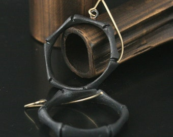 Black Bamboo Oxidized Sterling Silver Circle Earrings with Handmade 14K Green Gold Earwires