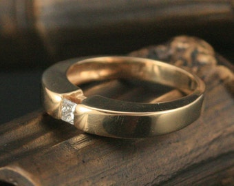 Princess Cut Diamond Modern Ring--Channel Set in solid 14K Yellow Gold Simple Engagement Ring