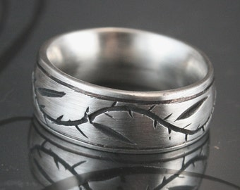 Pinstripe Thymes Ring--Carved and Cast Solid Sterling Silver Wedding Ring with Vine - Leaves and Thorns -Comfort Fit and Custom Made to Size