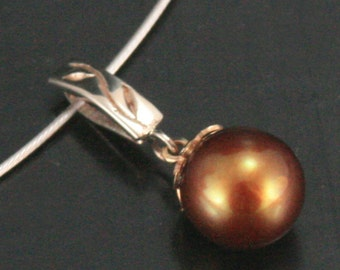 Thymes Brown Pearl Pendant in 14K White and Yellow Gold--OOAK Handcarved and Cast with Hand made Pearl Cap and set with Brown FW Pearl