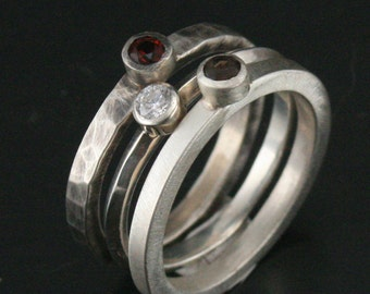Super Stone Stackers--Trio of Hand Forged Sterling Silver Rings set with Smokey Quartz, Garnet, and Cubic Zirconia