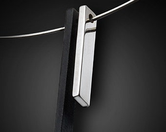 The Tuxedo Pendant - Sterling Silver Bar - Oxidized Bar Pendant - Versatile Pendant - Formal or Informal Necklace - Womans Modern Necklace