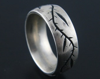 Silver Wedding Ring--Ring of Thorns Band--Hand Carved and Cast Sterling Silver Ring-Oxidized Vine Band-Religious Ring-Vine Design Ring