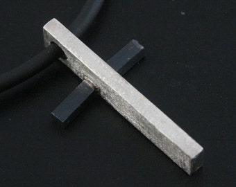 Black and White Cross--Modern Sterling Silver Religious Pendant--Black Silver Subtle Cross Pendant -Spiritual Ring -