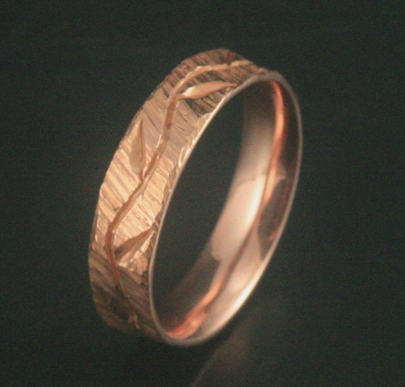 Bark and Vines--Hand Carved and Cast Solid 14K Rose Gold Wedding Band--Custom made in YOUR size and Comfort Fit Inside -High Fashion Design