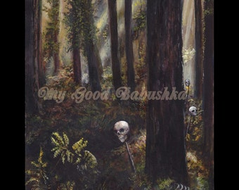 Study for the Path to Baba Yaga Print, Storybook Art, Fairy Tale Art, Folk Tale Art, Russian Folk Tale, Witch, Dark Forest, Macabre