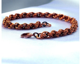 Extra-Fine Double Spiral Copper Chainmaille Bracelet, copper bracelet, copper jewelry, chainmaille jewelry, copper wire