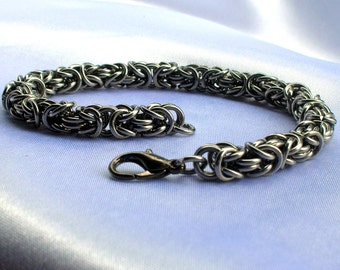 Byzantine Chainmaille Bracelet, Stainless Steel, byzantine bracelet, stainless steel bracelet, stainless steel jewelry, chainmaille jewelry