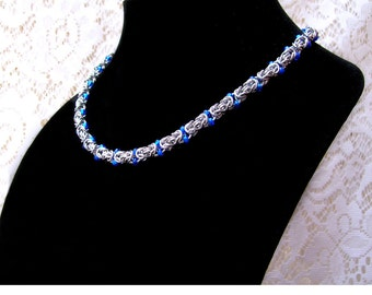 Byzantine Chainmaille Necklace with Blue Beads, beaded chainmaille, beaded chainmail, chainmaille with beads