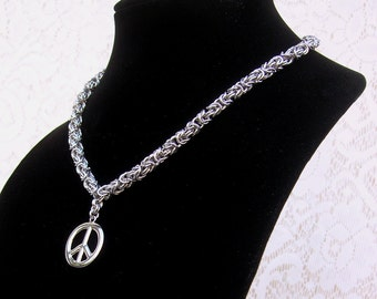 Byzantine Chainmaille Necklace with Peace Sign Pendant