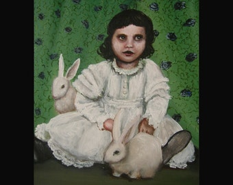 Alice and the Rabbits, Original Painting, Victorian Themed Art, White Dress, White Rabbits, Bunnies, Green Curtain, Victorian Dress