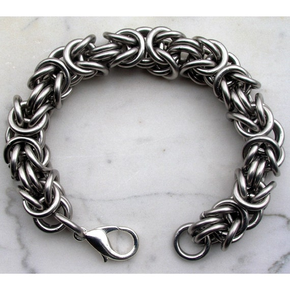 Stainless Steel Chainmaille Bracelet, Heavy Byzantine (RESERVED for TwylaH)