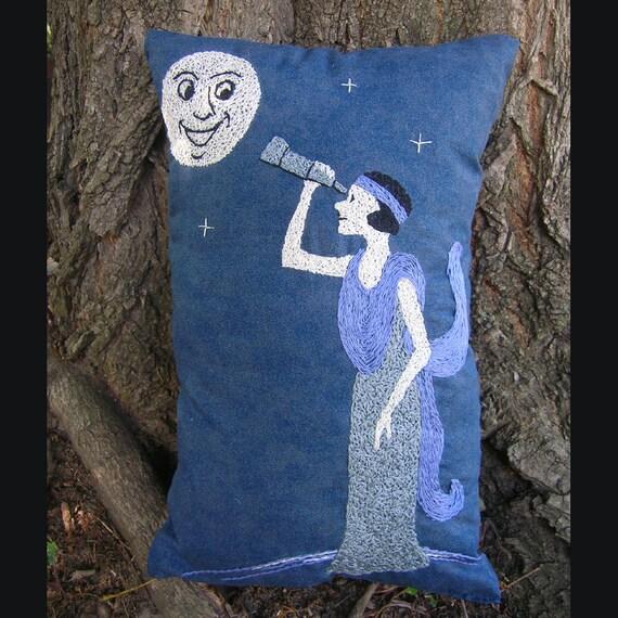 Astronomy. Handmade Pillow. Blue and Lilac. Man in the Moon. Fairy Tale Art. Nursery Art. Art Deco Style. Flapper Stargazer. Starry Night