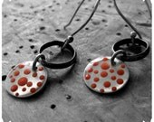 Polka in Pink - sterling silver and epoxy resin earrings