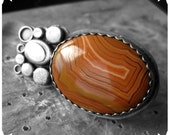 The Historian's Gyrogowitzer - ring in sterling silver and Dryhead Agate cabochon