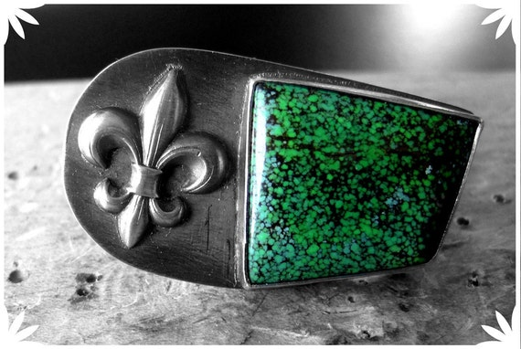 Vert-De-Gris - ring in sterling silver and turquoise cabochon