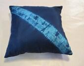 Navy and Teal Mokume Shibori Pillowcase