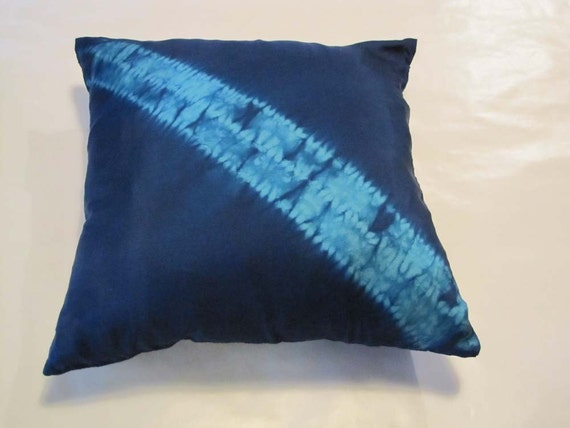 Navy and Teal Mokume Shibori Pillowcase