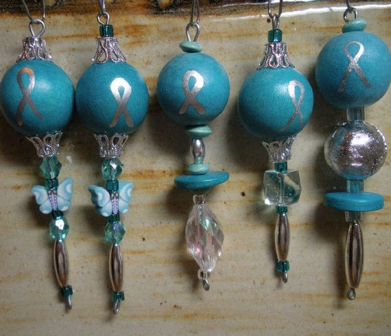 Ovarian Cancer Awareness Ornaments set of 5 different