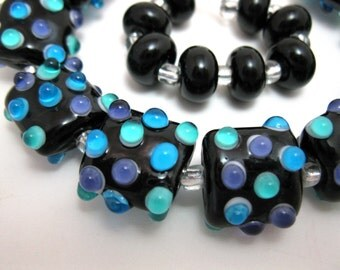 Black with Teal, Purple and Aqua bumps  Nuggets