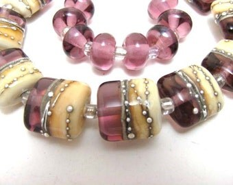Pale Amethyst with Silver Nuggets Lampwork Beads