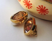 Vintage Amber Gold Clip Earrings / Honey Geometric Clip Earrngs / Harvest / Rustic / Woodland