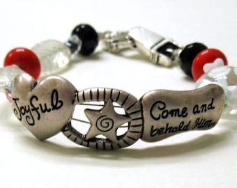 Red and Black Boho Beaded Bracelet, Spiritual Holiday Silver Bracelet, Joyful Message, for Her Under 60 Free US Shipping Gift Wrap