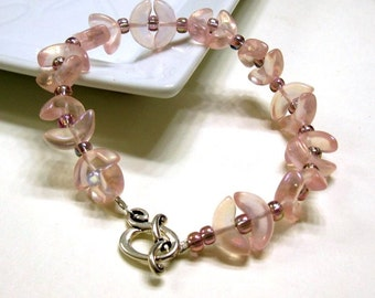 Pink Blush Silver Beaded Bracelet, Pink Circle Beaded Clasp Bracelet, Gift for Her Under 40
