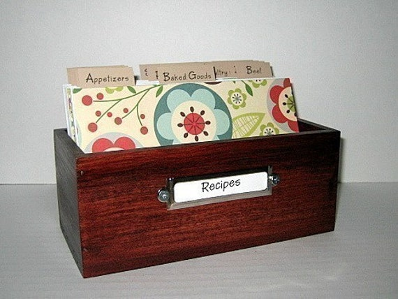 NEW DESIGN.... 4 by 6 inch Beautiful Recipe Card Box  with Fun Colorful Dividers...Ships Immediately