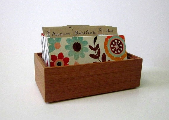 Recipe Box...Bamboo....3 by 5 Recipe Cards...  with Fun Colorful Dividers..Ready to Ship