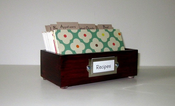 Customized for your style...Beautiful Recipe Card Box 3 by 5 inches with colorful fun dividers