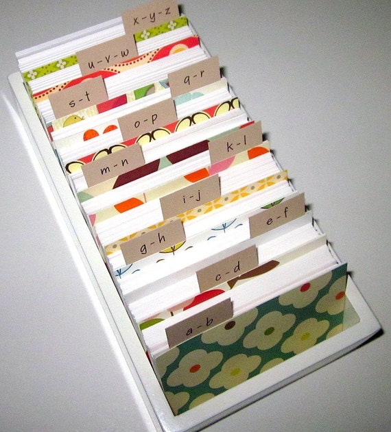 Business Card File/ Address Card File With Colorful Dividers