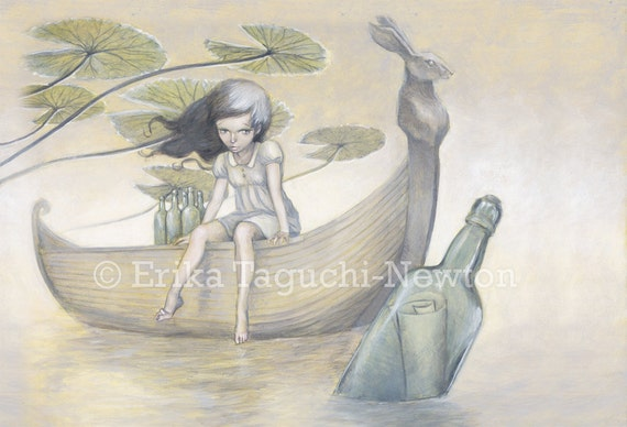 "Girl on a Boat Art, Message in a Bottle Painting, Rabbit Fine Art Print - ""Promises Promises"""