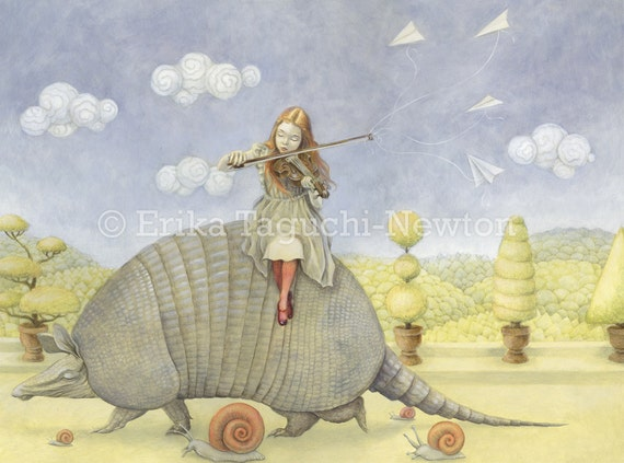 "Armadillo Art, Girl with Violin Painting, Fairy Tale Fine Art Print, ""Armadillo Dream"""