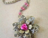 Rosy - Antique Bronze and Fuschia Rose Starburst Necklace
