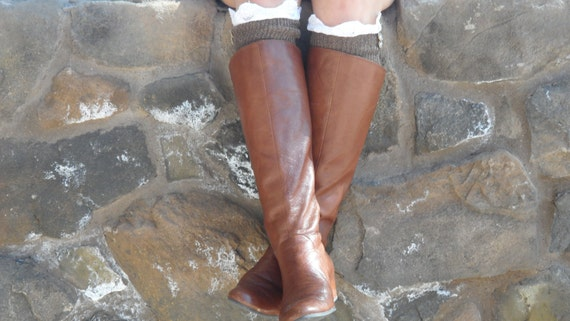 Chocolate Toffee embellished knee high boot socks with sweet cream lace and light brown buttons