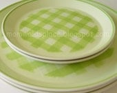 5 Vintage Mikasa Checkmates Plates in Spearmint Green  3 Dinner and 2 Salad