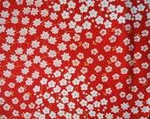 Vintage Kimono Silk Fabric Red and White Ume Blossoms