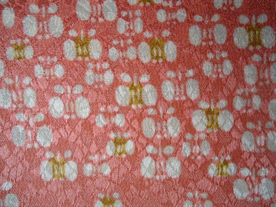 Vintage Kimono Silk Fabric Salmon Pink With Butterflies SALE