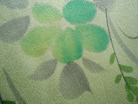 Vintage Kimono Silk Fabric Pale Yellow Green with Shibori and Painted Flowers