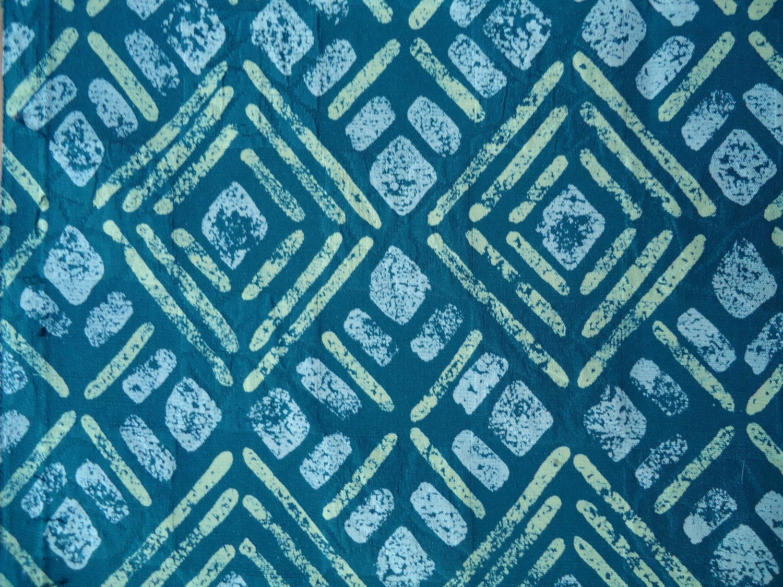 Vintage Silk Kimono Fabric Green Batik  Geometric Print